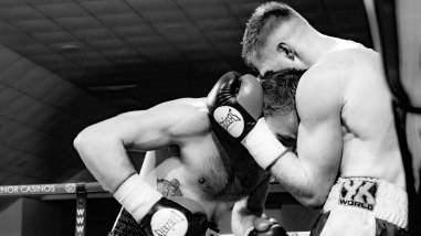 Paul Holt (left) fought Luke Jones in a gruelling six round semi final.